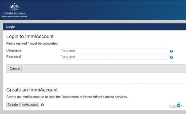 form đăng nhập xin visa úc online