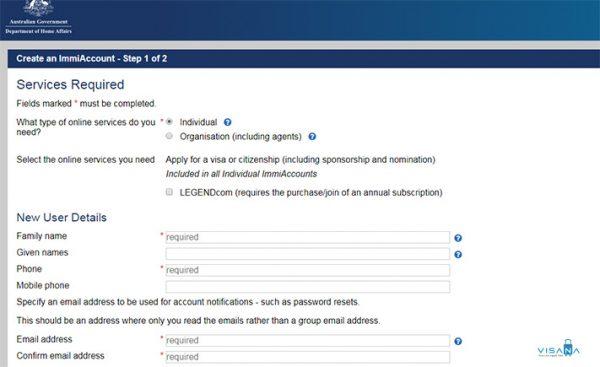 form đăng ký xin visa úc online