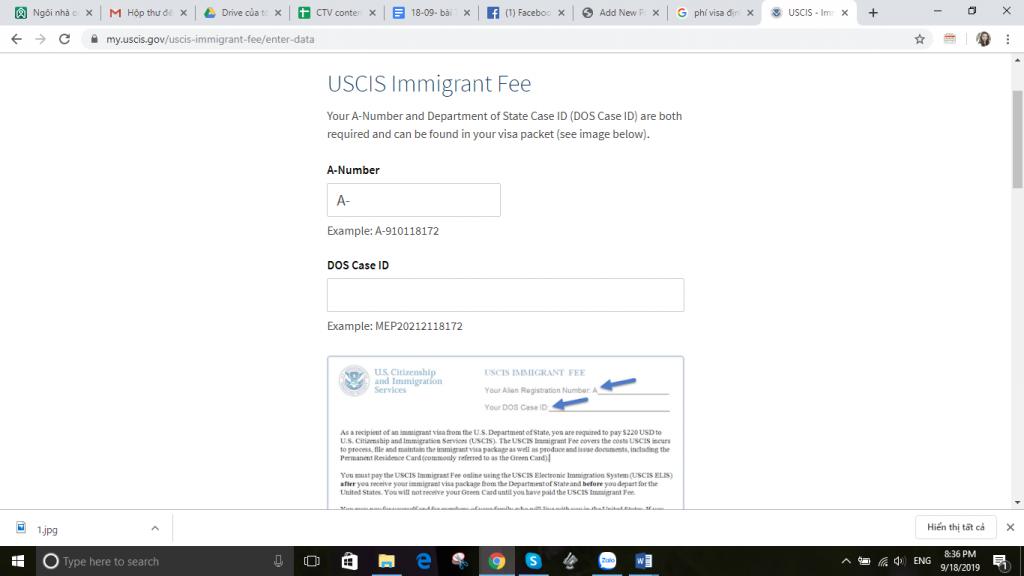 Biểu mẫu đóng phí visa định cư Mỹ online