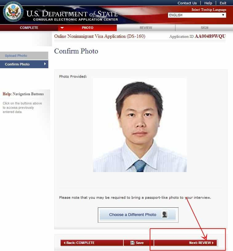 huẩn hình ảnh trong hồ sơ đăng kí cũng được đại sứ quán hoặc lãnh sự quán Hoa Kỳ nơi nộp đơn quy định