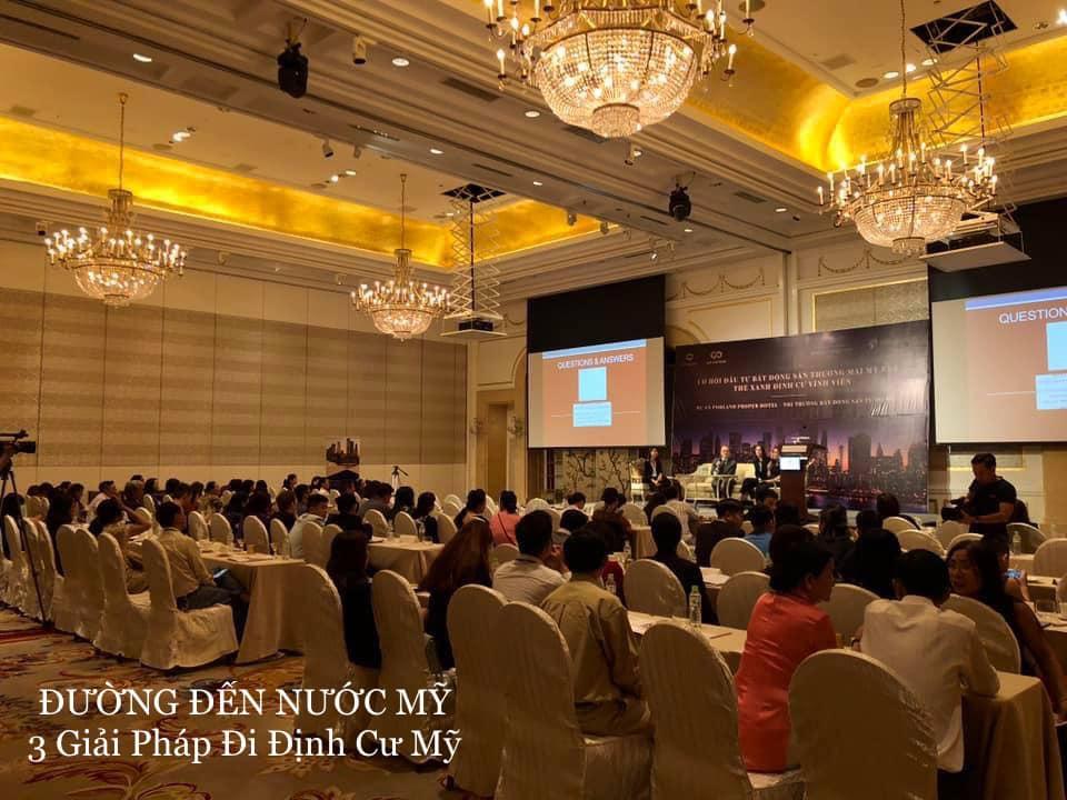 Hình ảnh một sự kiện do VikingGlobal tổ chức về giải pháp đầu tư định cư Mỹ tại khách sạn Hyatt Sài Gòn